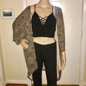 Sweaters - Black And Tan/ Beige Kimono